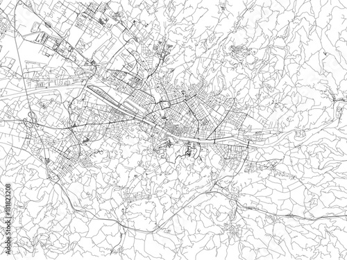 Fototapeta Strade di Firenze, cartina della città, Toscana, Italia. Stradario