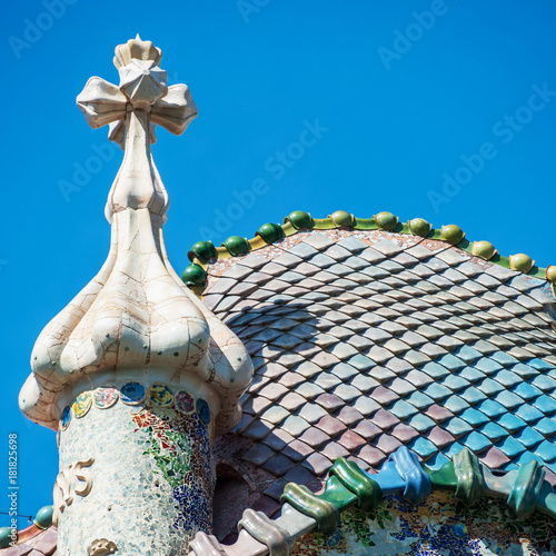 Aluminium Barcelona Dach eines jugendstil Hauses in Barcelona