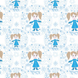 Seamless pattern with little girl, gift, ball and other element