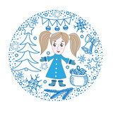 Winter greeting card with girl, gift, ball and other element in the round form