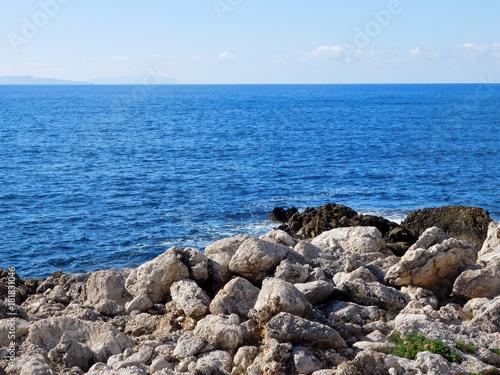 Sticker sea with cliffs