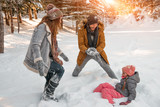 funny wintertimes with parents and child - 181831822