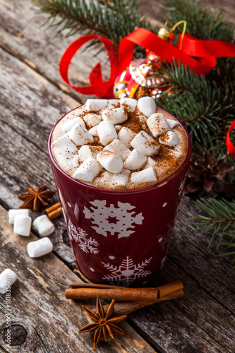 Foto op Canvas Chocolade Christmas hot chocolate with marshmallow. Christmas Holiday background.