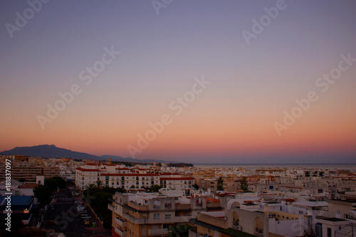 Foto op Plexiglas Lavendel Sky. Beautiful Mediterranean sunset. Costa del Sol, Andalusia, Spain.