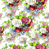 Bouquet flowers pattern in a watercolor style. Full name of the plant: rose. Aquarelle wild flower for background, texture, wrapper pattern, frame or border.