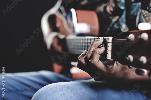 Fotobehang Muziek musician guitar hand