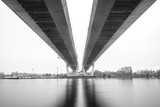 Cable-stayed bridge in Saint Petersburg. Bridge over Neva river in Saint-Petersburg, Russia. Fog night city.