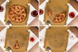 Salami Pizza in different stages (collage, view from above) - 181846680