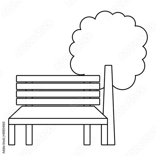 Wall mural park bench and tree natural landscape vector illustration