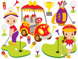 Vector Set with Cute Little Girls Playing Golf and Golf Accessories