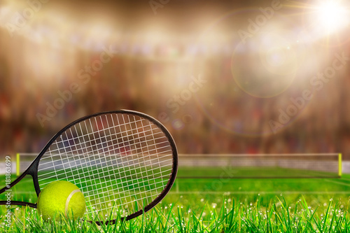 Fotobehang Tennis Tennis Racket and Ball on Grass Court With Copy Space