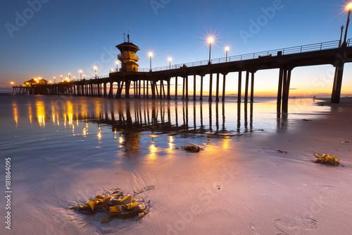 Plexiglas Strand Sunset Huntington Beach