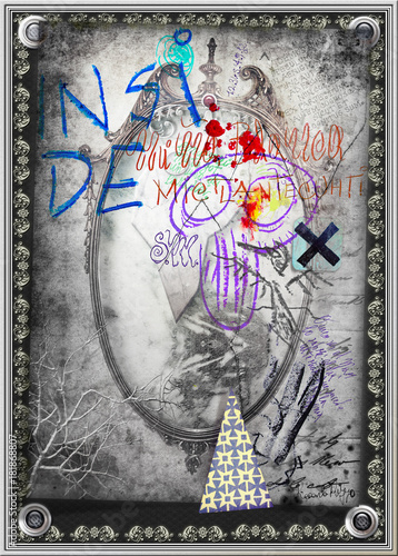 Foto op Canvas Imagination Scena macabra e dark con specchio magico e incantato,teschio,graffiti macabri e esoterici