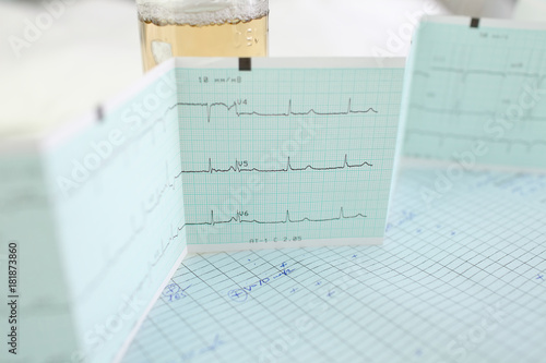 Medical examination results on the doctor's table in the office