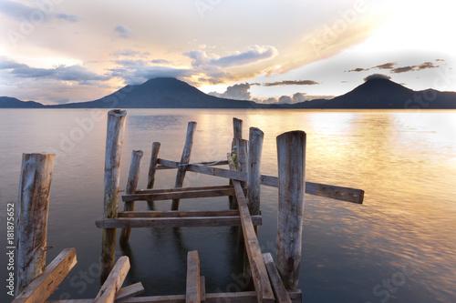 Plexiglas Pier Sunset Lake Atitlán