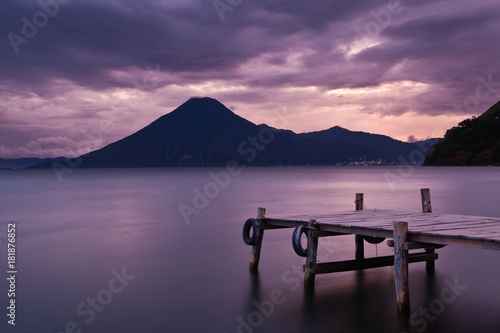 Foto op Canvas Aubergine Sunset Lake Atitlán