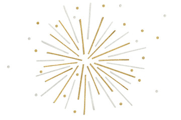 Gold and silver glitter firework paper cut on white background