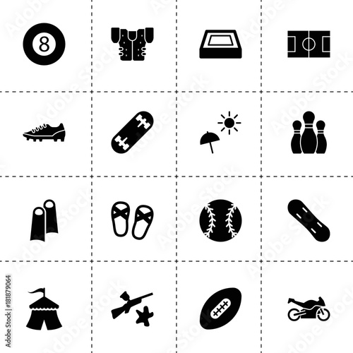 Simple 16 set of recreation filled icons