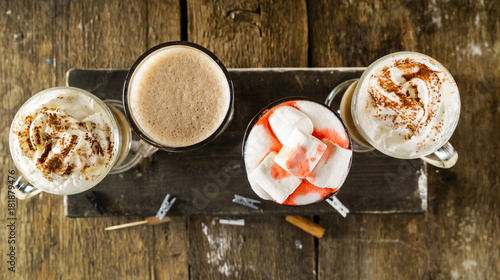 Foto op Canvas Chocolade set of coffee drinks
