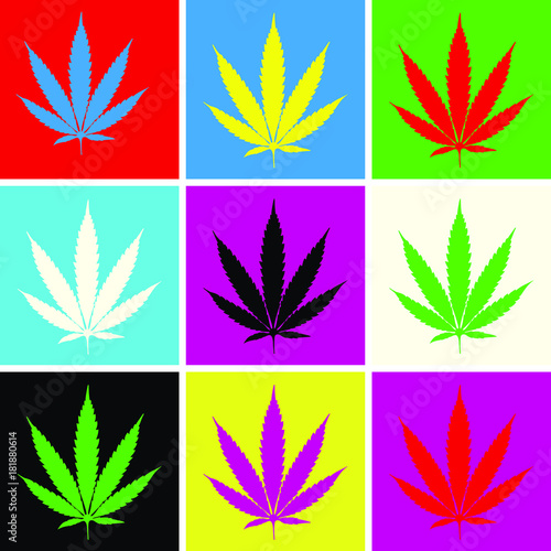 Nine cannabis leaf pop art