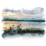 Mountain bike parked beside the lake with mountain and beautiful sky background. Watercolor painting (retouch). - 181882227