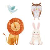 Cute watercolor animal set - 181886673