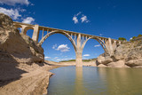 landscape of viaduct in Entrepenas reservoir, with extreme drought and low level water, in Guadalajara, Castile, Spain Europe