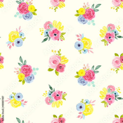 Fototapeta Watercolor abstract floral pattern