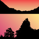 Vector landscape silhouette. Realistic trees, woods, hills and mountain silhouettes on night and evening sky. Outdoor nature scene