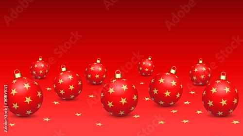 Fotobehang Rood traf. Fond d'écran. Boules de Noël étoilées (16/9) (r)