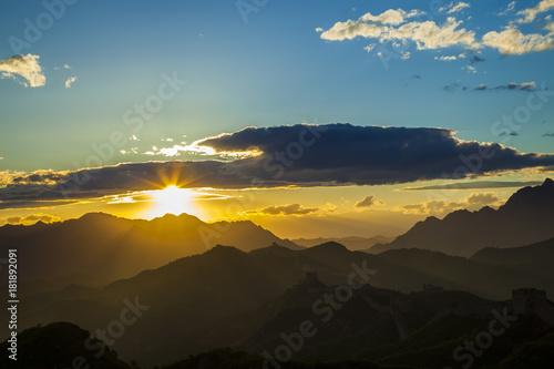 Fotobehang Zomer Sunset in mountains