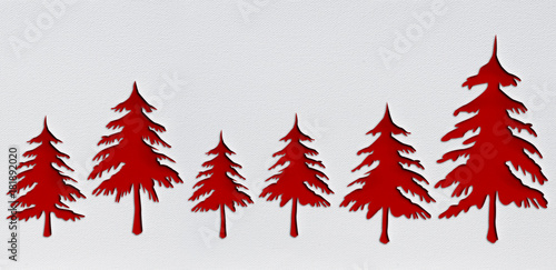 red christmas trees with punch paper design is on white background with drawing Poster