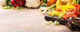 Organic fresh raw colorful vegetables. Healthy food background concept. Copy space. Banner.