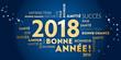 Carte de voeux – bonne année 2018 - bleu et dorée.