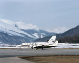 Private jets and planes in the airport of St Moritz Switzerland
