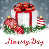 Gray Christmas Snowflakes Red Baubles Gift Boxing Day - 181899082
