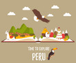 Tourist poster of Peru with lamas, landmarks