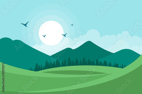 Fotobehang Lichtblauw Landscape vector illustration background