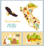 Set of tourist cards of Peru with landmarks.