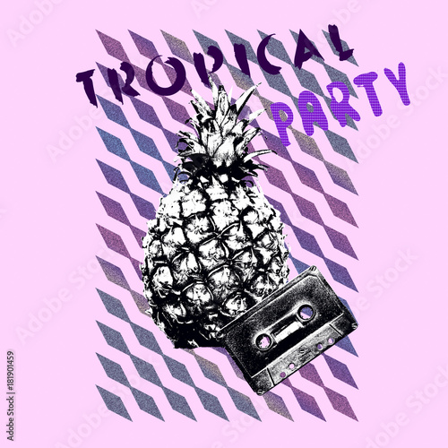 Foto op Plexiglas Purper Pineapple. Art collage minimal Flyer design Tropical party mood