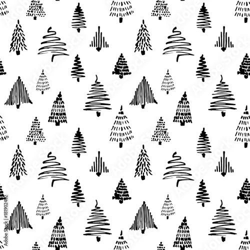 fototapeta na ścianę Christmass tree seamless pattern. Vector illustration. Black Hand drawn doodle sketch with ink. Design for wrapping