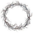 Watercolor wreath of bare branches and berries. Beauty of winter nature.