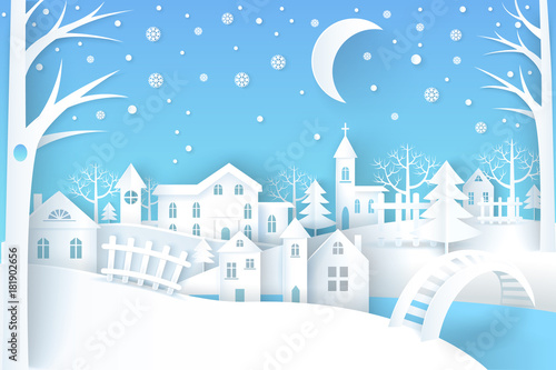 Tuinposter Blauw Winter Landscape Vector Illustration Blue White