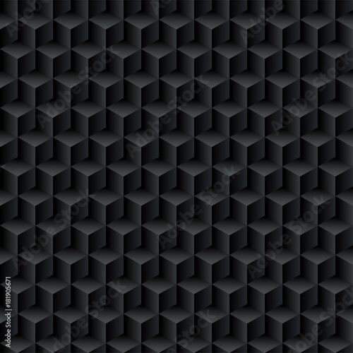 Black cubes. Seamless pattern, geometric background. optical illusions. Vector illustration - 181905671