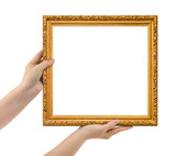 Wooden picture frame in hands - 181908267