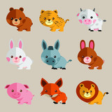 cute and funny vector animal illustration set