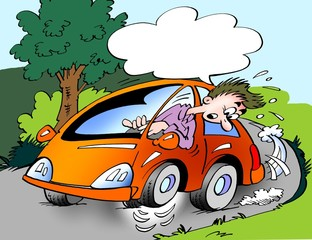 Cartoon illustration of a car owner driving with wrong tire pressure in the crank, so that it runs on three wheels