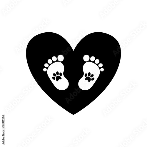 Baby footprints with pet pawprints inside of black heart