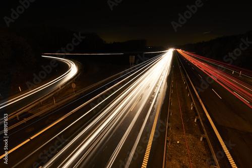 Poster Nacht snelweg nighttraffic on a highway