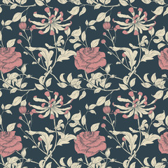 Seamless pattern, hand drawn Rose and Chrysanthemum flowers with leaves on dark background